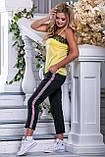 Стильные черные брюки с нашивными лампасами 42-50р, фото 2