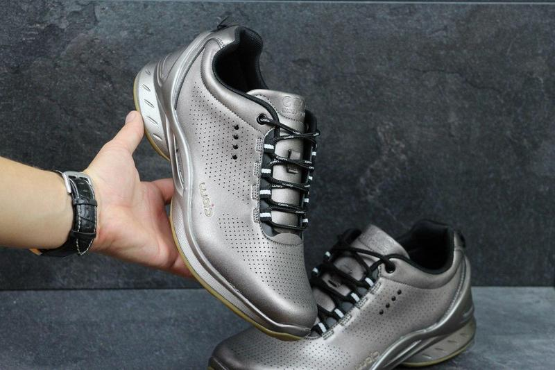 Мужские кроссовки в стиле Ecco Biom, пресс кожа, серебристые   кроссовки  мужские Экко Биом 15ed726ba27