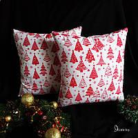 Декоративная подушка Красные елки