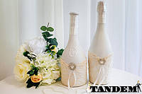 Декор бутылок - Ажур, айвори