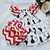 Трусики под памперс для девочки + туника (Красные волны и Кошечки)