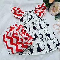 Трусики под памперс для девочки + туника (Красные волны и Кошечки), фото 1