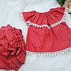 Трусики под памперс для девочки + туника (Красного цвета в белый горошек)