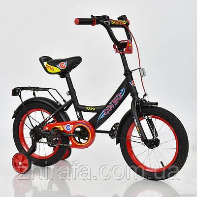 Детский двухколесный велосипед CORSO, 14 дюймов, черный