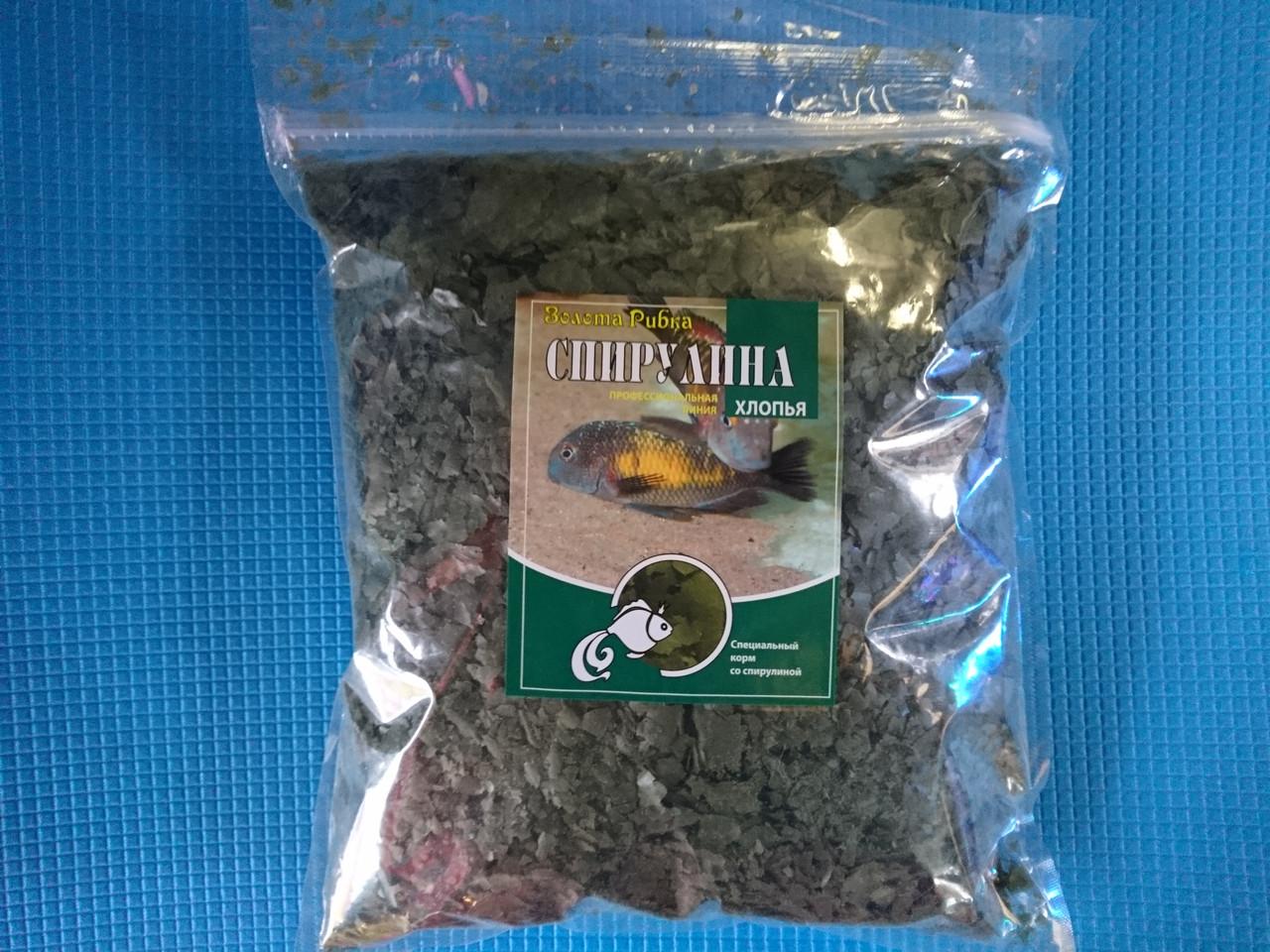 Спирулина - растительный корм в хлопьях со спирулиной, 500г