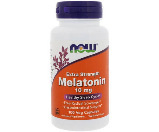 NOW Foods Melatonin 10 mg extra strength 100 капсул, фото 2