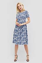 Льняное расклешенное платье с цветочным принтом (Deks crd), фото 3