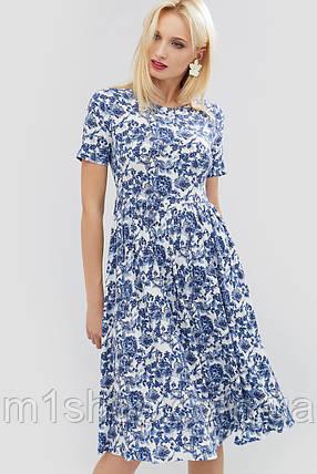 Льняное расклешенное платье с цветочным принтом (Deks crd), фото 2