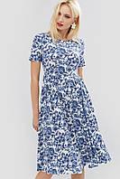 Льняное расклешенное платье с цветочным принтом (Deks crd)