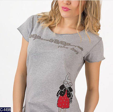 Женская футболка серого цвета, фото 2