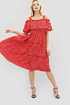 Вискозное женское платье в горошек с воланом на плечах (Ios crd), фото 3