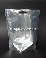 Дой-Пак 100г 130х180 Серебро+прозрачная сторона без зип замка