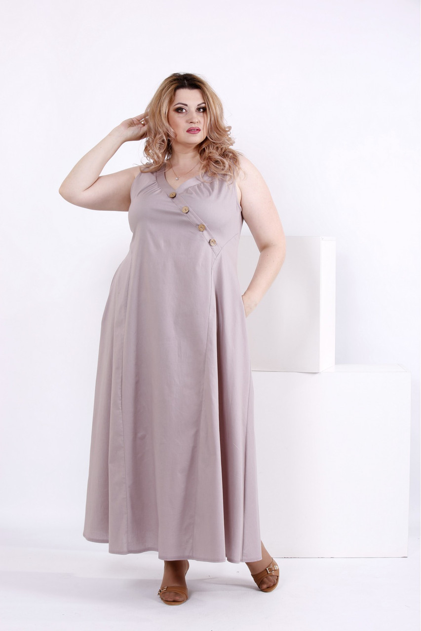 d594c865e24 Длинное бежевое платье больших размеров из коттона 0841
