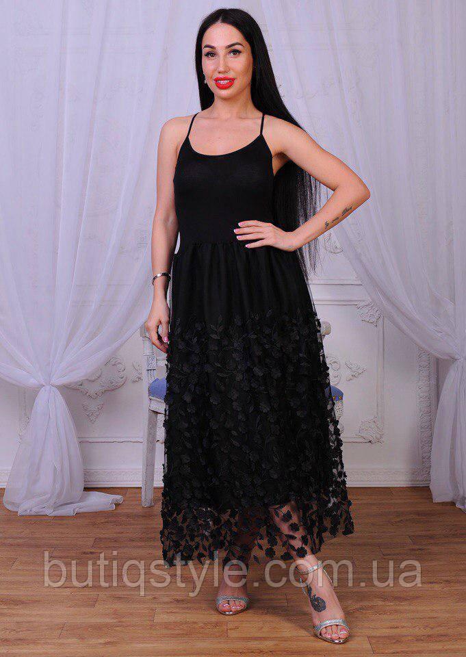 Стильне жіноче плаття сарафан трикотаж і сітка з розсипом квітів чорне, біле