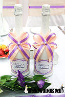 Декор бутылок - Personal, peach-lilac
