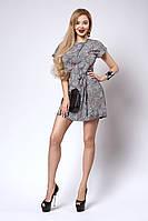 Легкое летнее женское платье с принтом листик
