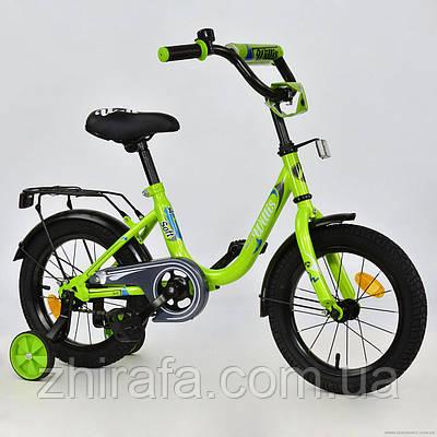 Детский двухколесный велосипед MAVERICK, 14 дюймов, салатовый