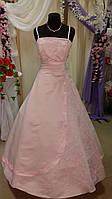 Платье свадебное розовое вышивка бисер