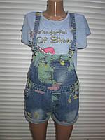 Стильный джинсовый комбинезон с шортами  р М