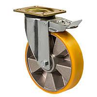 """Колесо поворотне посилене серія 56 """"Medium"""" з кріпильною панеллю та гальмом, діаметр -150мм"""