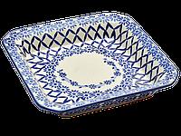 Керамическое блюдо квадратное сервировочное Criss-cross, фото 1