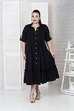 Роскошное платье-рубашка больших размеров черное, фото 3