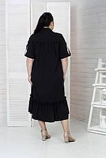 Роскошное платье-рубашка больших размеров черное, фото 2