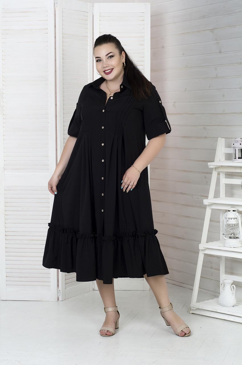 Роскошное платье-рубашка больших размеров черное