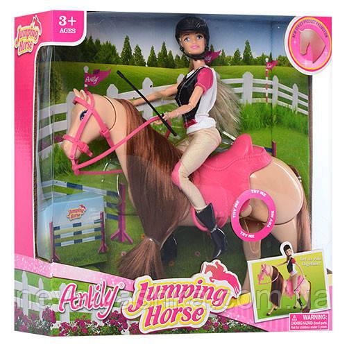 Кукла Anlily наездница и ЛОШАДКА, шарнирная аналог барби, лошадь муз., 99042, 006765