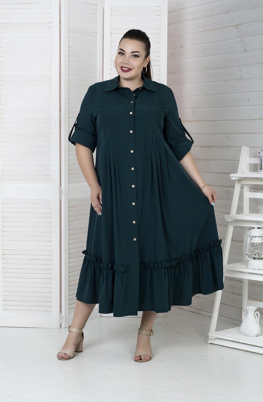 dec500b8aada125 Зеленое шикарное платье-рубашка для полных женщин Мелисса 72 - V Mode,  прямой поставщик