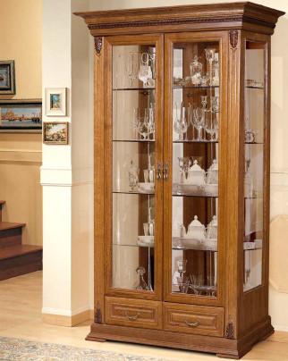 Шкаф-витрина 2-х дверный Витовт СлонимМебель белый, орех