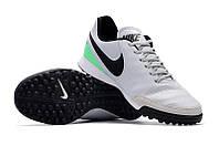 Футбольные сороконожки Nike Tiempo X Genio II TF White/Black/Rage Green, фото 1