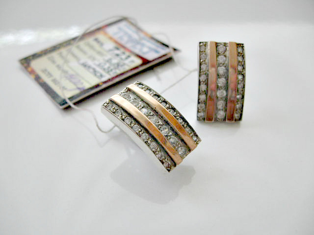 Серебряные Серьги 7.23 грамма Серебро 925 пробы вставки Золото 375 пробы