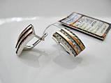 Серебряные Серьги 7.23 грамма Серебро 925 пробы вставки Золото 375 пробы, фото 5