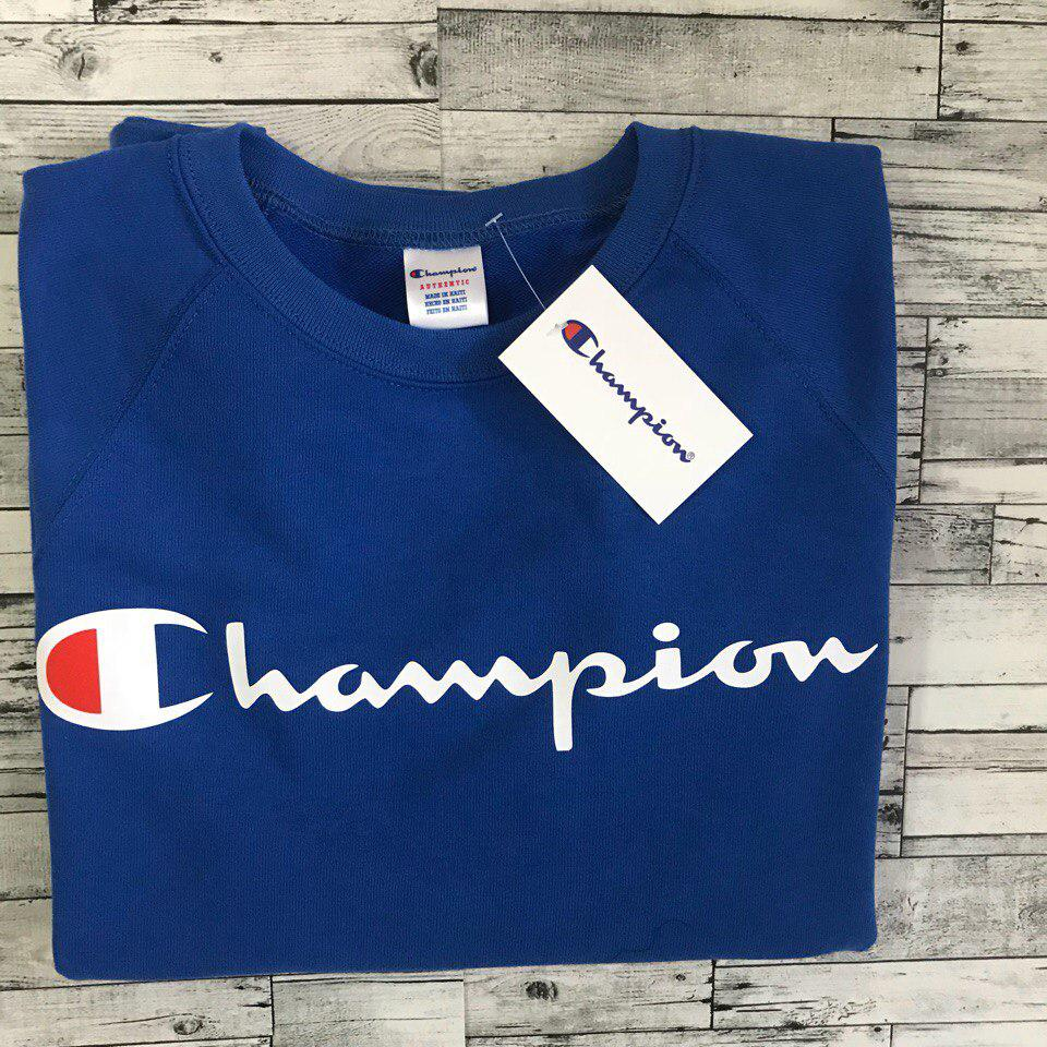 Свитшот мужской с принтом Champion синий | Качественная реплика