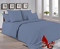 Комплект  постельного  белья  серый однотонный  поплин