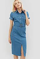 Приталенное джинсовое платье с поясом из основной ткани (Bongo crd)