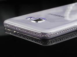 Чехол для Samsung A7 A720 2017 силиконовый со стразами