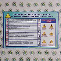 Правила техники безопасности. Стенд для кабинета химии на русском языке