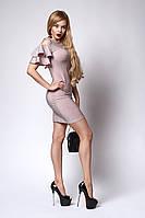 Женское платье с открытыми плечами пудрового цвета, фото 1