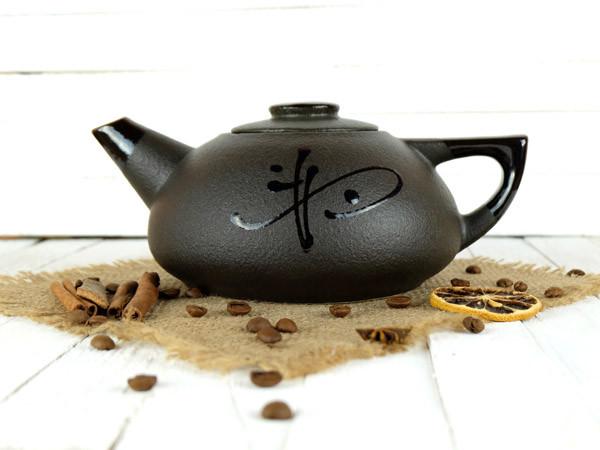 Чайник заварочный плоский 800 мл Иероглиф