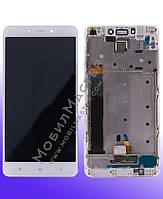 Дисплей для Xiaomi Redmi Note 4 + сенсорное стекло, белый, с передней панелью