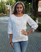 """Біла вишита блуза натуральний льон """"Чернігівська"""" розміри в наявності"""