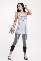 Женская туника с вышивкой в виде надписи, светло-серого цвета