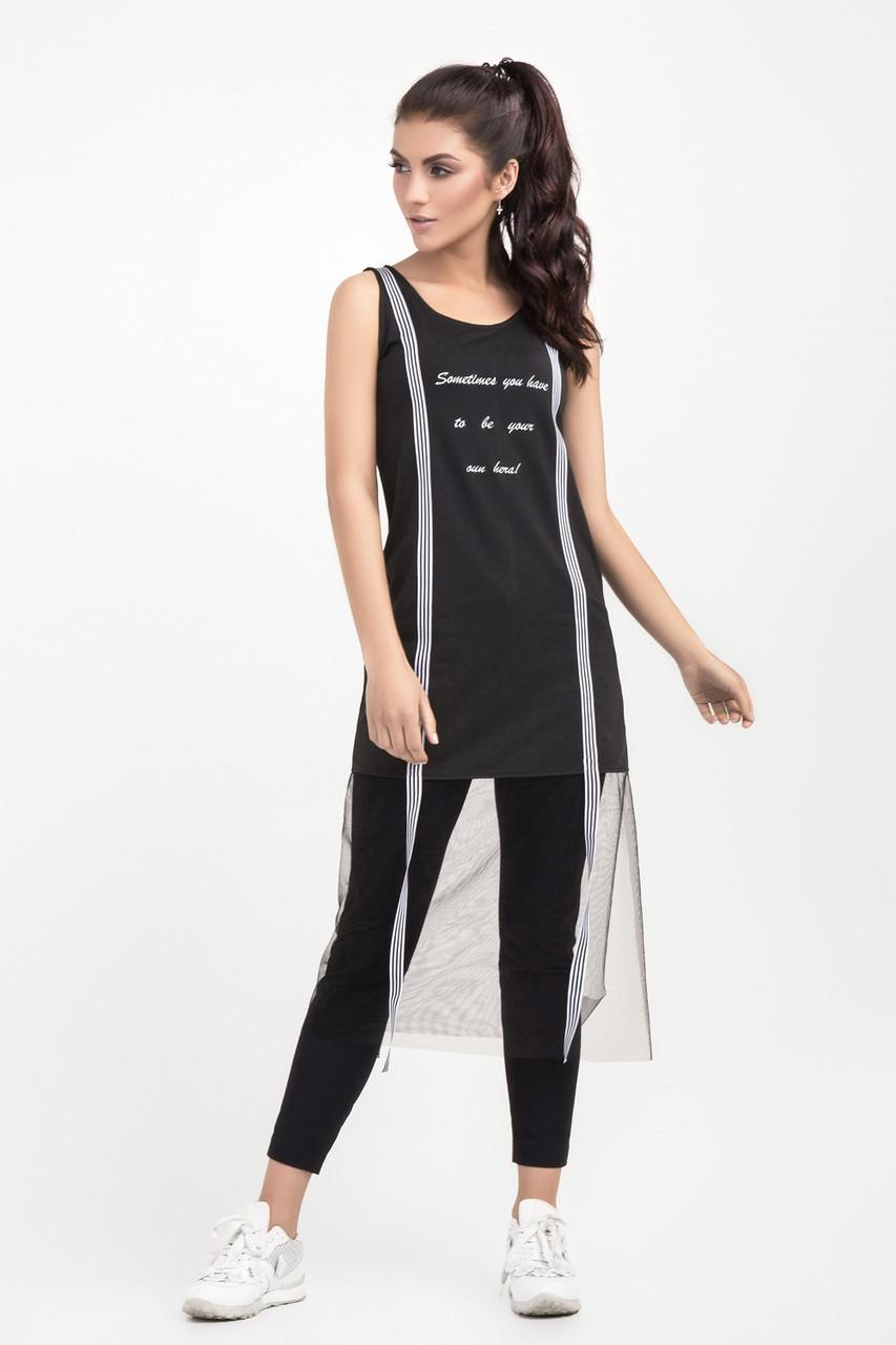 Модна жіноча туніка прикрашена фатином, чорна