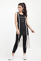 Модна жіноча туніка прикрашена фатином, чорна, фото 1