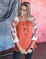 """Вишита блуза натуральний льон """"Біла квітка"""", фото 1"""