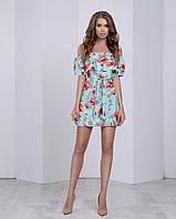 Платье-трансформер с двойным воланом, поясом и очень ярким принтом: маки+ромашки ментол