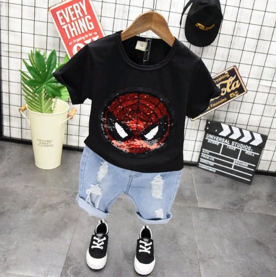 Детская футболка с пайетками-реверс СуперГерои (чер)  100