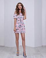 Платье-трансформер с двумя воланами,поясом и очень ярким принт: композиция цветов розов